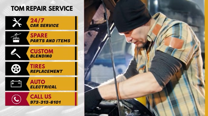 Car Repair Shop Digital Display Menu template