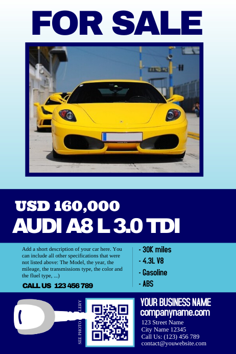 Perfect Car Sale Flyer   Clean, Big Text, Big Image   Great For Featuring A Intended Car For Sale Flyer