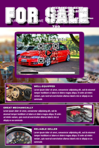 Car sale flyer with a QR code for the link to the video show