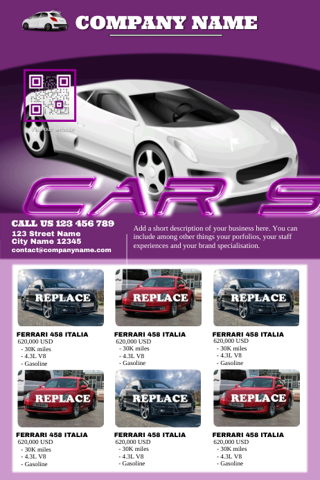 car sales poster modern template postermywall. Black Bedroom Furniture Sets. Home Design Ideas