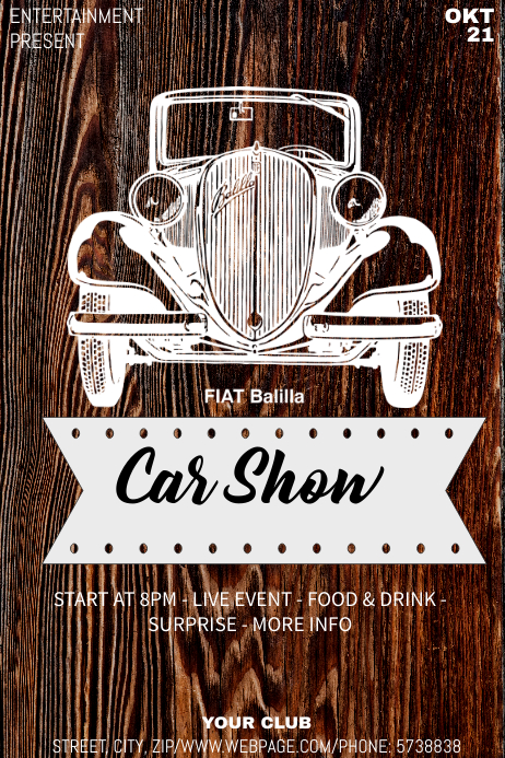 Car show event flyer template