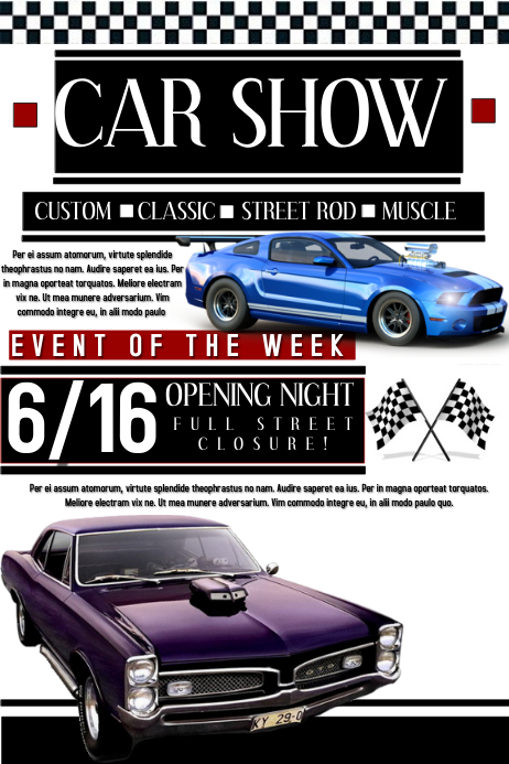 car show template postermywall. Black Bedroom Furniture Sets. Home Design Ideas