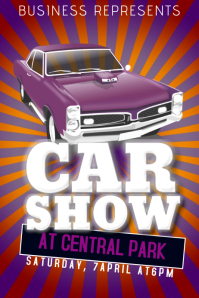 car show flyer template old retro vintage