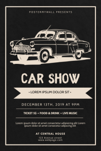 Car Show Vintage RETRO Flyer Design Template Poster