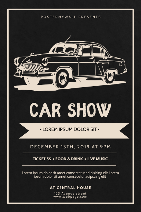 Car Show Vintage RETRO Flyer Design Template