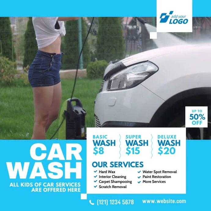 Car Wash Advert โพสต์บน Instagram template