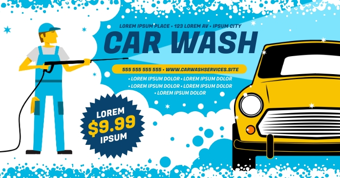 CAR WASH BANNER Facebook Shared Image template