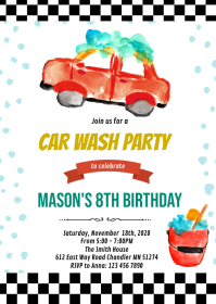 Car wash birthday party invitation A6 template