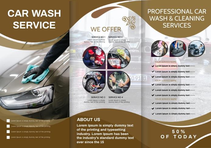 car wash brochure A4 template