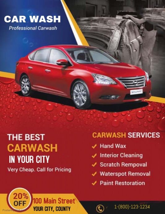 Car Detailing Cost >> Car wash Template | PosterMyWall