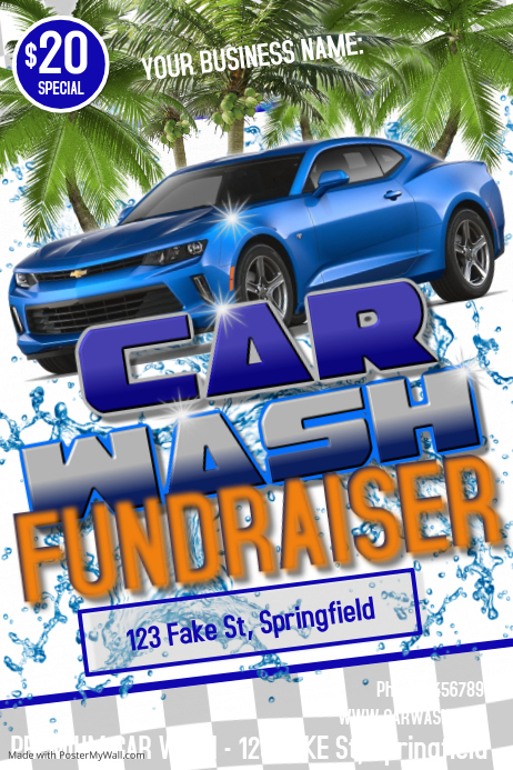 car wash fundraiser poster flyer customize template