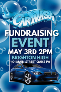 Fundraiser. Bake Sale Poster Template. Car Wash
