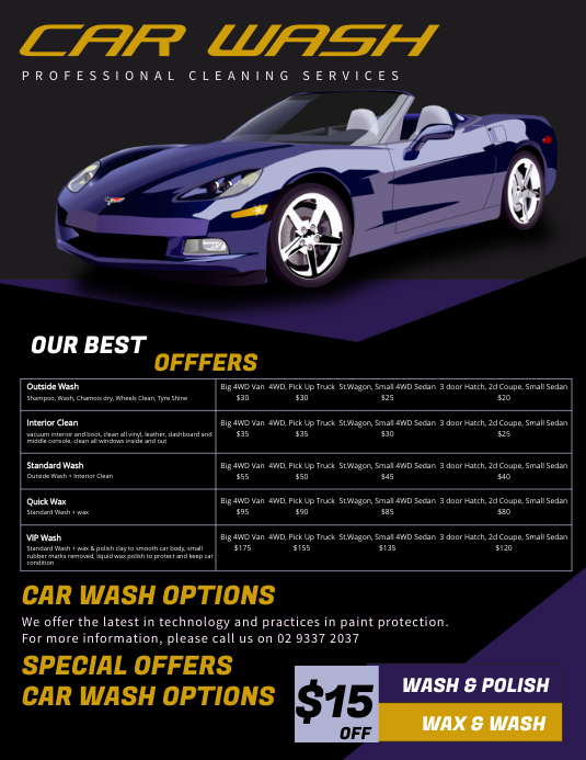 Car Wash Price Flyer