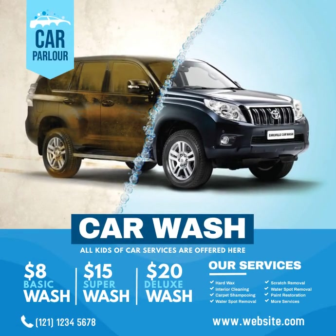 Car Wash Service Ad Instagram Plasing template