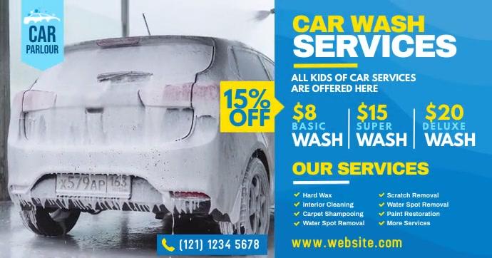 Car Wash Service Ad Imagen Compartida en Facebook template