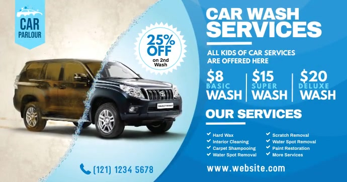Car Wash Service Advert Imagen Compartida en Facebook template