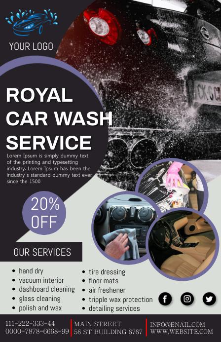 car wash service Tabloid template