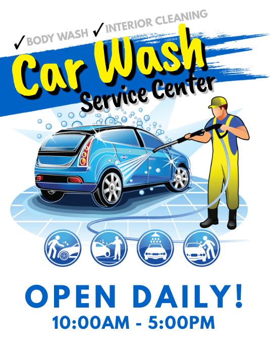 customize 300  car wash flyer templates