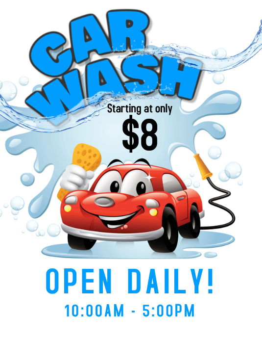 Car Wash Service Flyer 传单(美国信函) template
