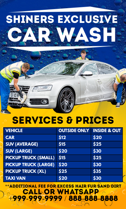 Car Wash Services & Prices Template