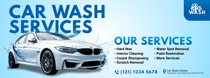 Car Wash Services Ad Facebook 封面图片 template