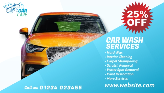 Car Wash Services Ad Facebook-omslagvideo (16: 9) template