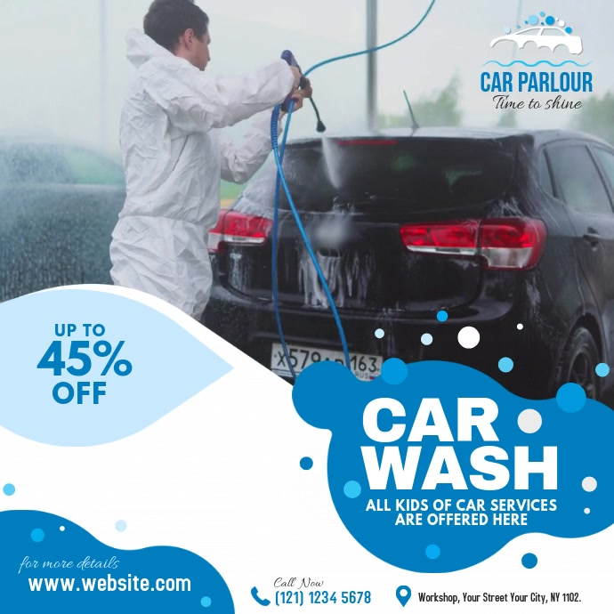 Car Wash Services 方形(1:1) template