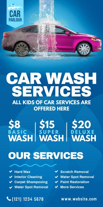 Car Wash Services Roll-up Banner Роллерный баннер 3' × 6' template