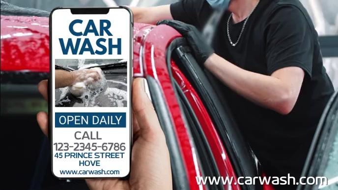 Car Wash Social Media Ad Template 数字显示屏 (16:9)