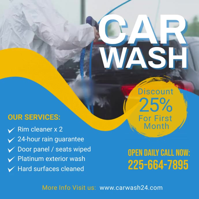 Car wash Video Ad Post template