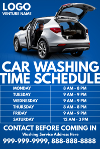 Car Washing Time Schedule Template Affiche