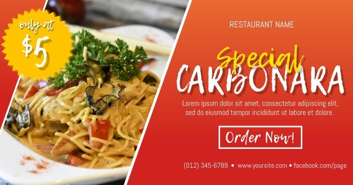 Carbonara Pasta Facebook Post template