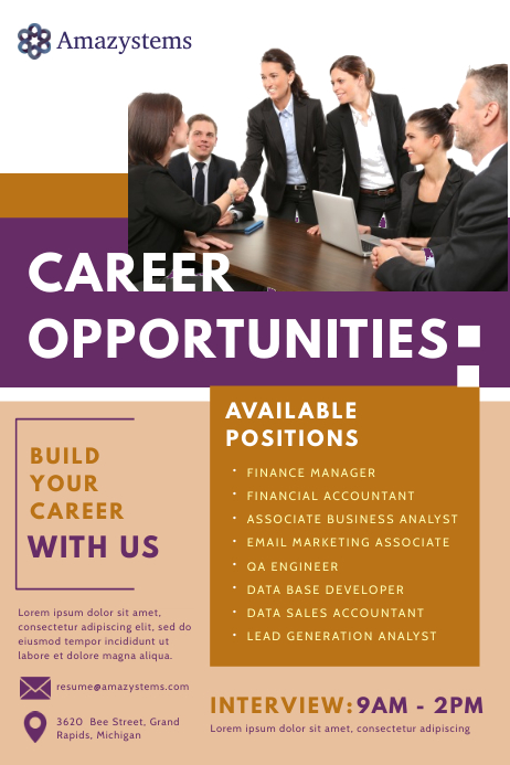 Career Fair Job Vacancy Poster template