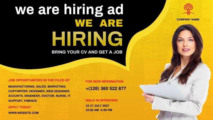 career opportunities Coverfoto til YouTube-kanal template