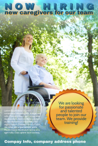 caregiver hiring poster flyer template
