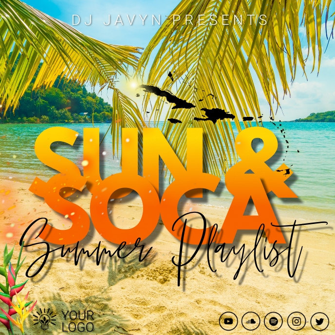 Caribbean Soca Playlist Sampul Album template