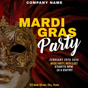 Carnival and mardi gras instagram party adver template