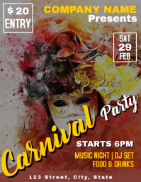 Carnival and mardi gras party flyer