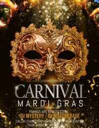carnival flyer templates,mardi grass templates,event flyers Løbeseddel (US Letter)