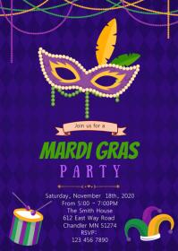 Carnival mardi gras invitation