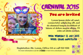Carnival party flyer (Contains a big image and a golden frame)