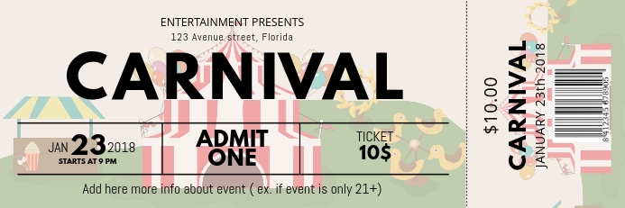 Carnival Ticket Template Postermywall