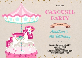 Carousel shower party invitation A6 template