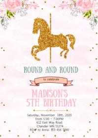 Carousel theme birthday party invitation