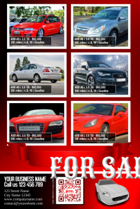 Cars for sale flyer - Modern design - Template color: red