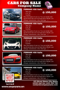 Red glossy cars for sale poster - Car dealership poster template