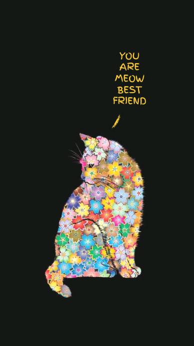 cartel divertido del gato de la flor colorida Instagram Story template