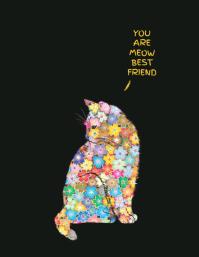 cartel divertido del gato de la flor colorida Pamflet (Letter AS) template