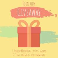Cartoon Gift Instagram Giveaway Post Ad template