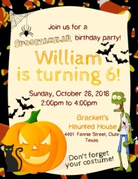 Cartoon Halloween Birthday Invitation Flyer Video Template